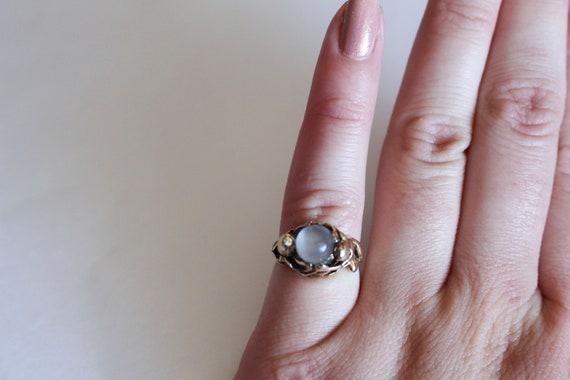 Diana Cat's Eye Moonstone Diamond Tulip Ring | 14k Yellow Gold