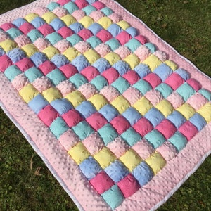 Small Baby Blanket Crochet Blue and White Baby Blanket Floor Play Pad Mini Tummy Time Floor Blanket Take a Long Floor Pad