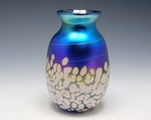 Hand-blown iridescent turquoise vase by Elaine Hyde