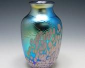 Handblown iridescent glass vase by Elaine Hyde