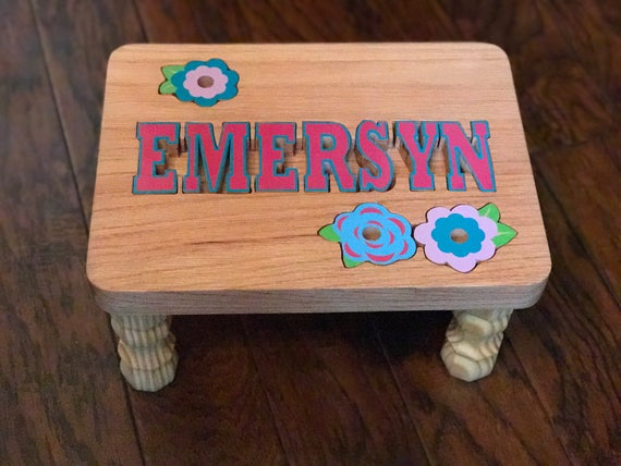 Phenomenal Wooden Name Puzzle Step Stool Bench Personalized Kids Girls Flowers Boys Tractor Onthecornerstone Fun Painted Chair Ideas Images Onthecornerstoneorg