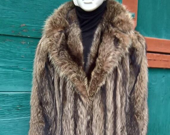 Vintage Fur Coat Racoon Long Tanuki