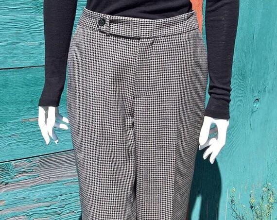 Vintage Trouser Pants Ralph Lauren Black & White Houndstooth Wool