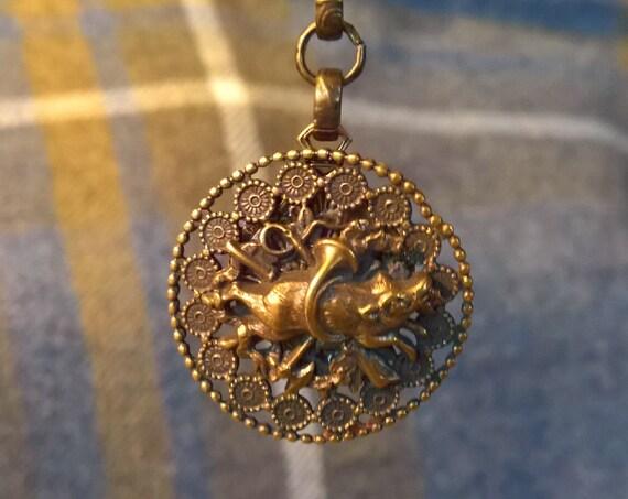 Antique Button Necklace Boar Hunt 1880s Brass Repurposed Victorian
