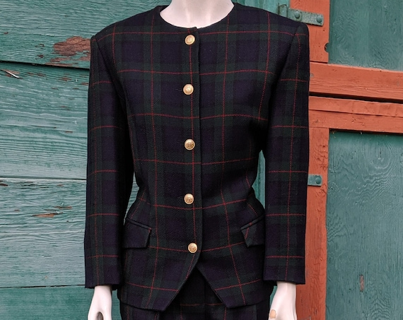 Vintage Blazer & Trouser Suit Tartan Plaid Country-Fresh