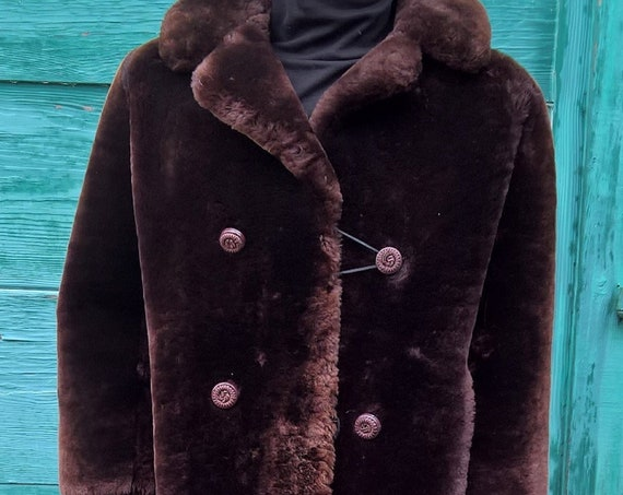 Vintage Real Shearling Coat Thick Fur Mountain Lodge