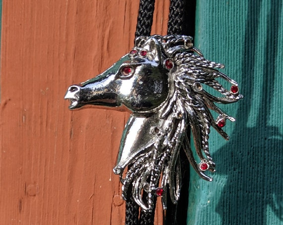 Vintage Bolo Tie Silver Horse Head Bejeweled