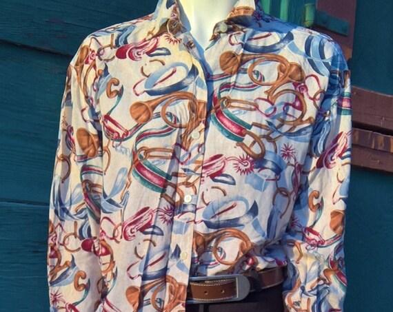 Vintage Equestrian Print Blouse Long Sleeve Bill Blass Fox Hunt