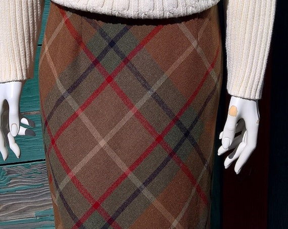 Vintage Skirt Ann Taylor Carmel Plaid Wool Knee Length