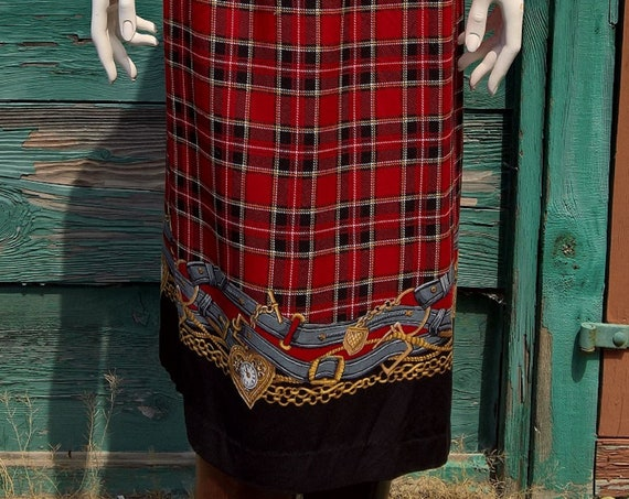 Vintage SKirt Plaid Red Equestrian with Illustrated Hem