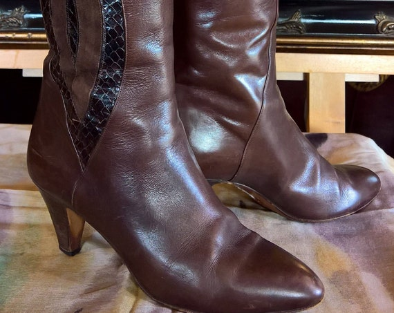 Vintage Tall Boots Suede/Snake inlay Italian Design