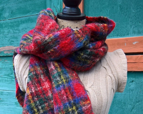 Vintage Wide Red Plaid Mohair Scarf/Shawl