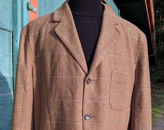 Vintage Men's Coat Pendleton Brown Plaid Merino Wool-XL/Long