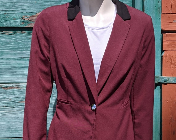 Vintage Riding Jacket Bordeaux with Long Peplum Back