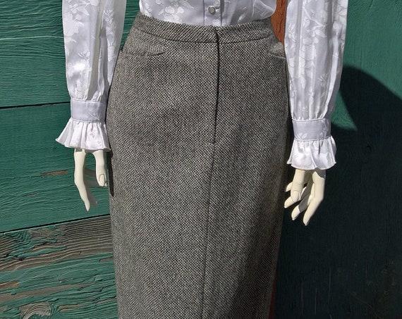 Vintage Skirt Ralph Lauren Charcoal Tweed Boot Cut