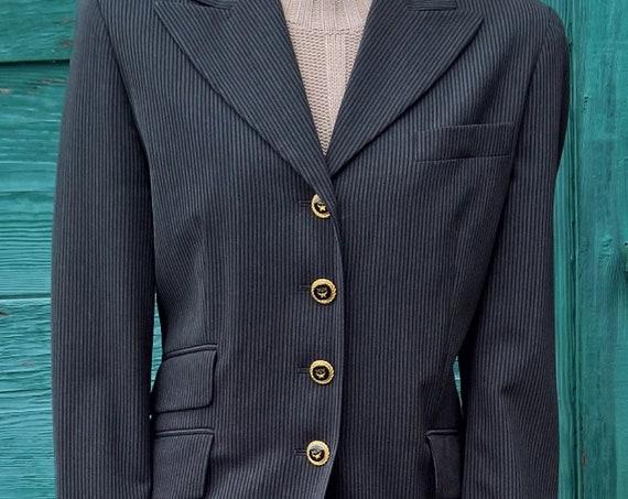 Vintage Jacket Blazer Equestrian MCM Pinstripe