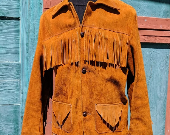 Vintage Men's Jacket Frontier Nubuck Suede with Fringe