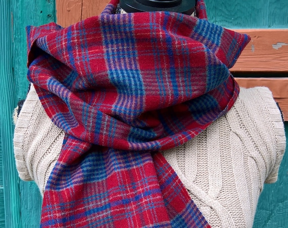 Vintage Scarf Pendleton Plaid Red & Navy Wool