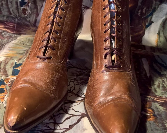 Antique Boots Victorian Laced Leather Edwin Clapp 1900s