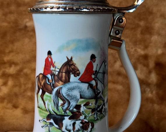 Vintage Nelson McCoy Porcelain Lidded Fox Hunters Stein