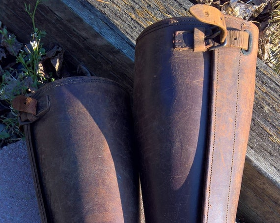 Vintage Polo Player Leather Shin Guards 1930s Antique Polo Leg Protection