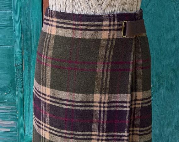 Vintage Skirt Wrap Plaid Blanket Wool