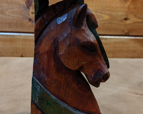 Vintage Horse Statue Carved and Painted Wood-1960s