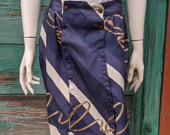 Vintage Pleated Skirt Equestrian W/Horsehead Buttons – 1990s