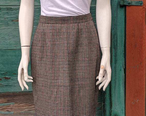 Vintage Brooks Brothers Pied-De-Poule Wool Skirt