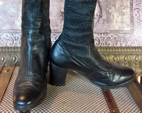 Vintage Tall Boots Leather Lana Finnish Stretch