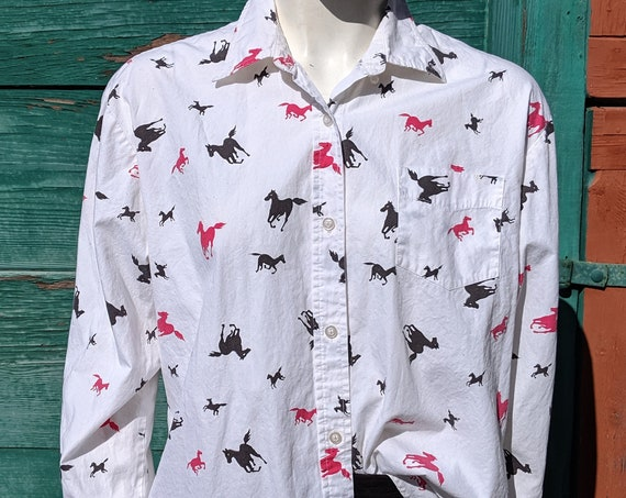 Vintage Blouse Cotton Long Sleeve Roper Galloping Horses