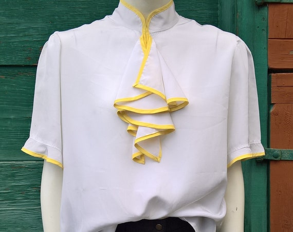 Vintage Blouse Ruffle Equestrian White with Yellow Trim