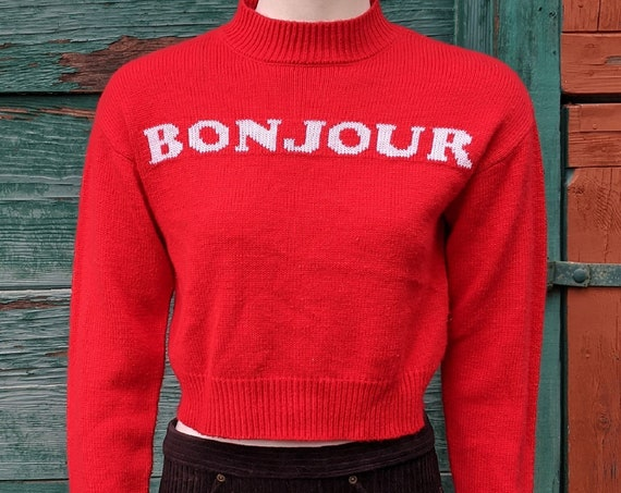 Vintage Sweater Bonjour Red Knit Cropped – 1980s