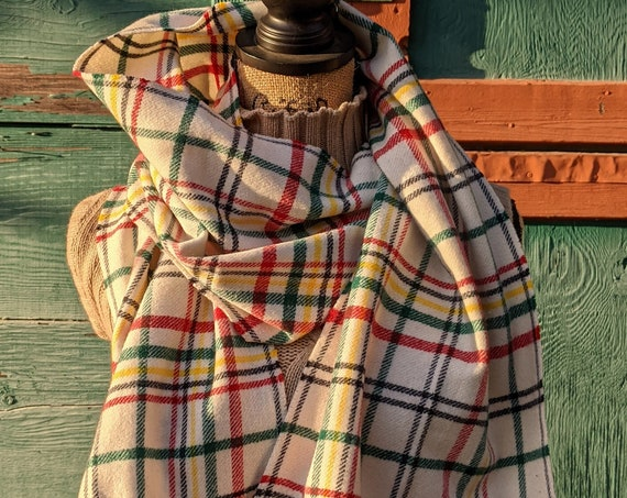 Vintage Scarf Pendleton Wool Winter White Plaid – 1990s