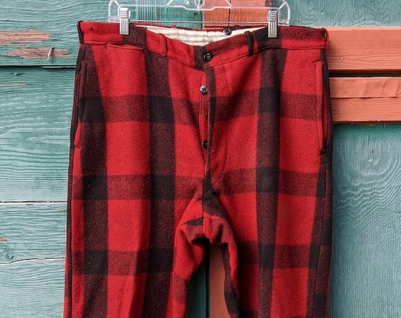 Vintage Men's Field Pant Wool Chippewa Buffalo Plaid-1950s