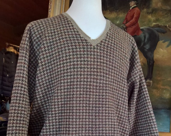 Vintage Sweater Eddie Bauer Men's Lambswool Plaid Lifestyle
