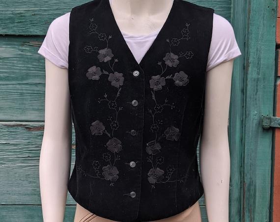 Vintage Liz Black Velvet Soutached Vest