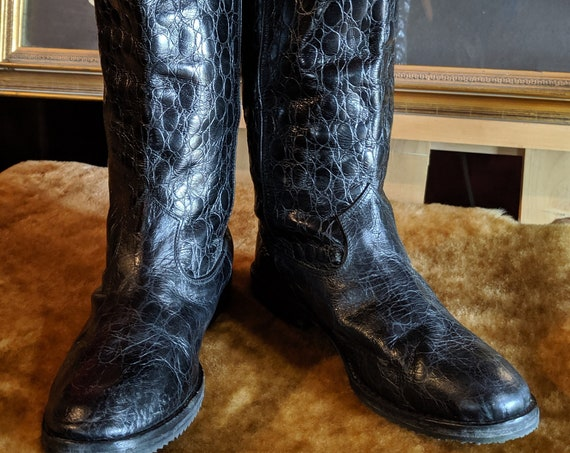 Vintage Paul Mayer Croc-Embossed Riding Boots