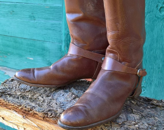 Vintage 1930s Brown Leather Hunt Boots Tall Riding