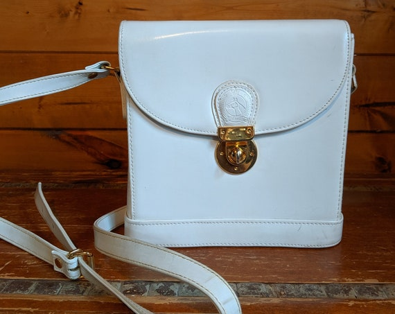 Vintage Purse Cross-body Pristine White Leather Structured
