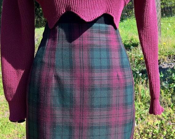 Vintage Skirt Pencil Plaid Dorothy Perkins British Bordeaux