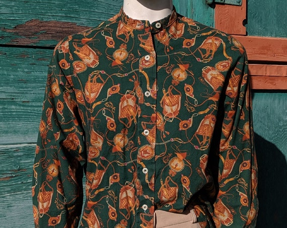Vintage Blouse Equestrian Illustrated Cotton Button Up
