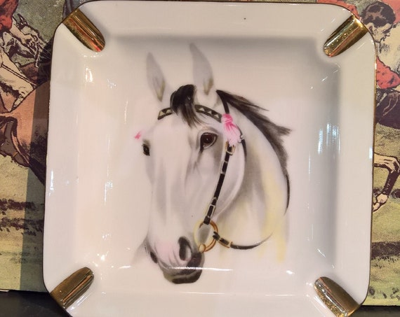 Vintage Ashtray Equestrian Horse Head Grey