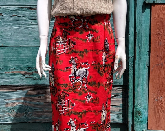 Vintage Skirt Dions Of Texas Fox Hunters Print