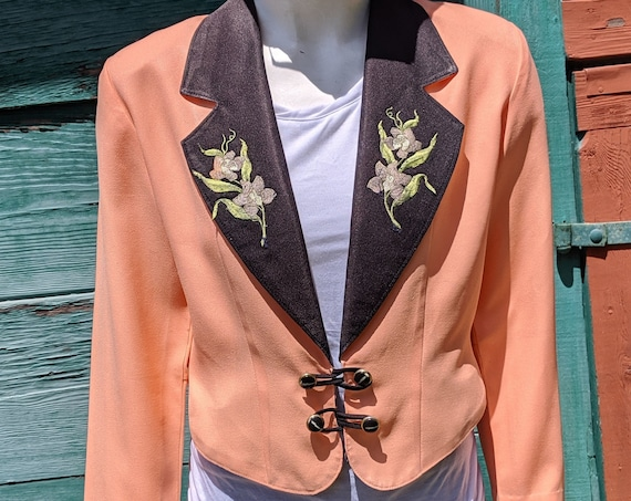 Vintage Jacket Cropped Prom/Driving Peach Embroidery