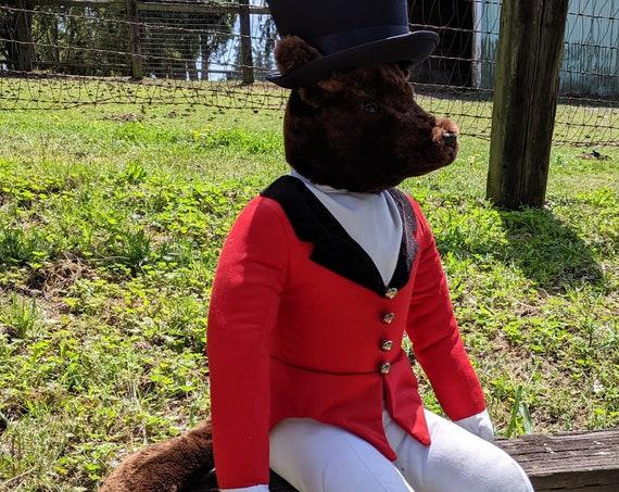 Vintage Plush Fox Hunt Master Large W Top Hat