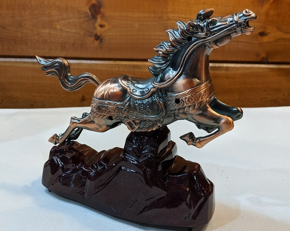 Vintage Horse Statue Mechanical + audio polished bronze – 1970s