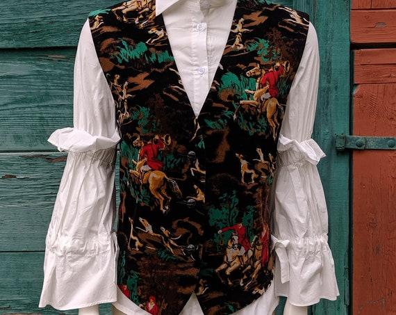 Vintage Cotton Velvet Vibrant Fox Hunters Vest