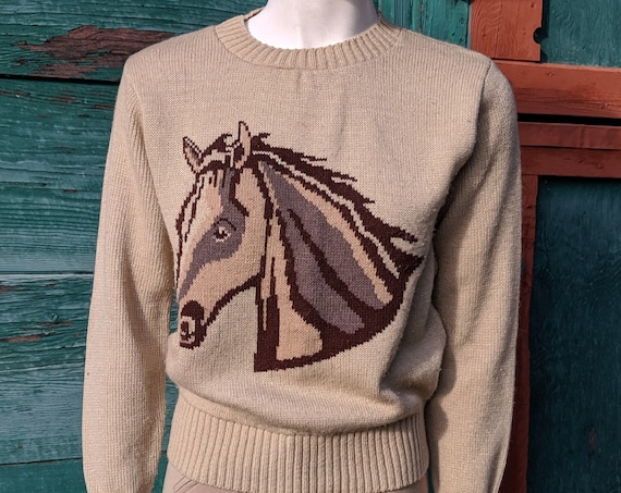 Vintage Sweater Hacking Tan Knit Horse Head