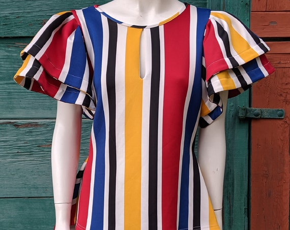 Vintage Short Sleeve Top Derby Racing Stripes with Peplum Waist